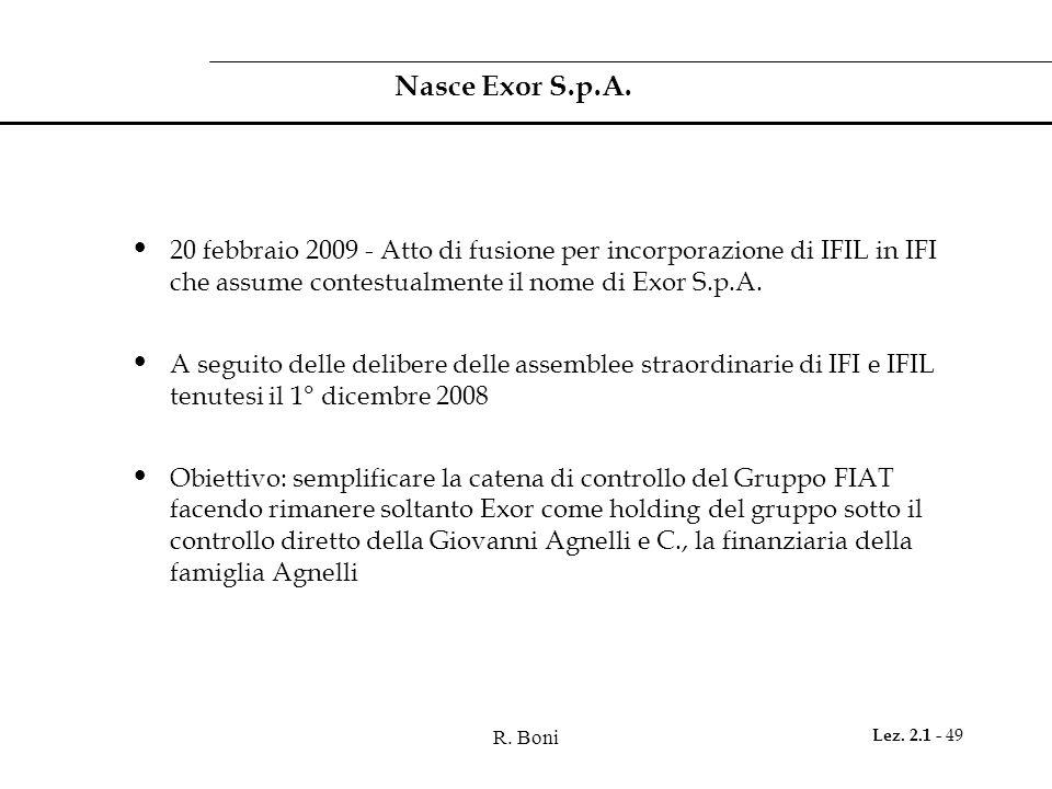 R. Boni Lez. 2.1 - 49 Nasce Exor S.p.A. 20 febbraio 2009 - Atto di fusione per incorporazione di IFIL in IFI che assume contestualmente il nome di Exo