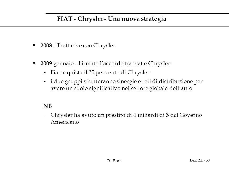 R. Boni Lez. 2.1 - 50 FIAT - Chrysler - Una nuova strategia 2008 - Trattative con Chrysler 2009 gennaio - Firmato laccordo tra Fiat e Chrysler - Fiat