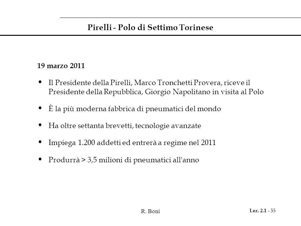R. Boni Lez. 2.1 - 55 Pirelli - Polo di Settimo Torinese 19 marzo 2011 Il Presidente della Pirelli, Marco Tronchetti Provera, riceve il Presidente del