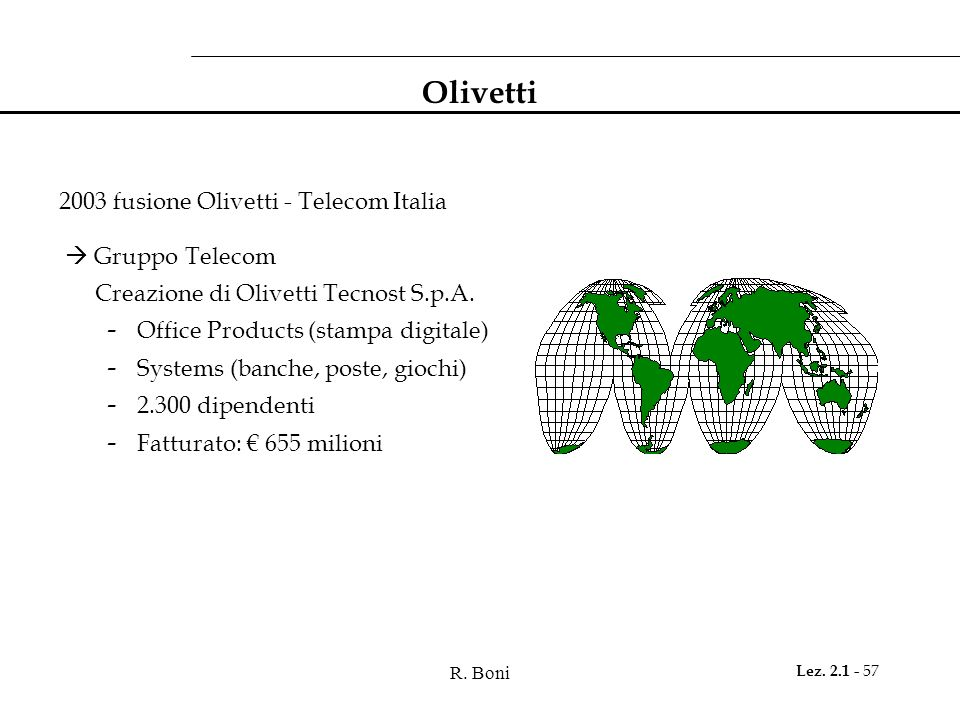 R. Boni Lez. 2.1 - 57 Olivetti 2003 fusione Olivetti - Telecom Italia Gruppo Telecom Creazione di Olivetti Tecnost S.p.A. - Office Products (stampa di