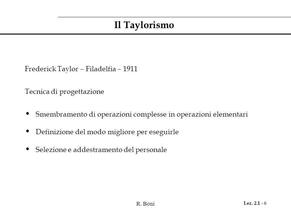 R. Boni Lez. 2.1 - 6 Il Taylorismo Frederick Taylor – Filadelfia – 1911 Tecnica di progettazione Smembramento di operazioni complesse in operazioni el