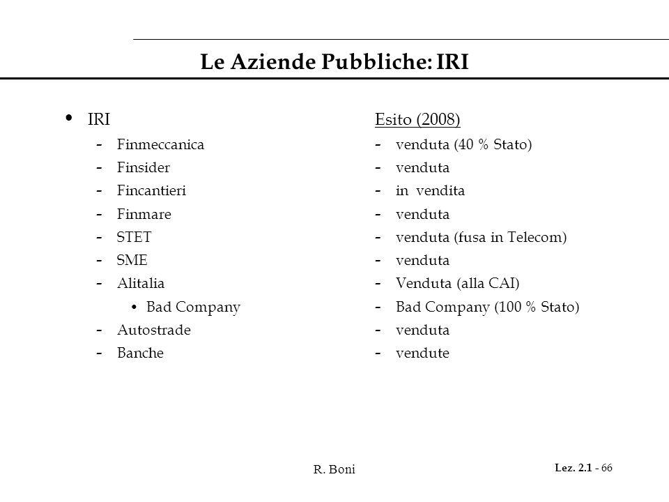 R. Boni Lez. 2.1 - 66 Le Aziende Pubbliche: IRI IRI - Finmeccanica - Finsider - Fincantieri - Finmare - STET - SME - Alitalia Bad Company - Autostrade