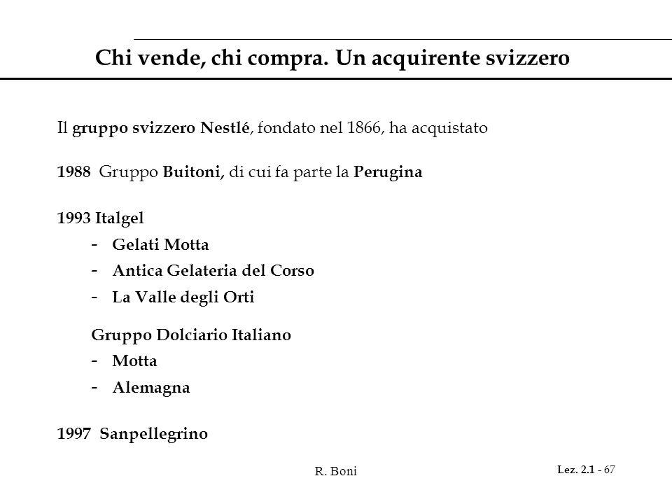 R. Boni Lez. 2.1 - 67 Chi vende, chi compra. Un acquirente svizzero Il gruppo svizzero Nestlé, fondato nel 1866, ha acquistato 1988 Gruppo Buitoni, di