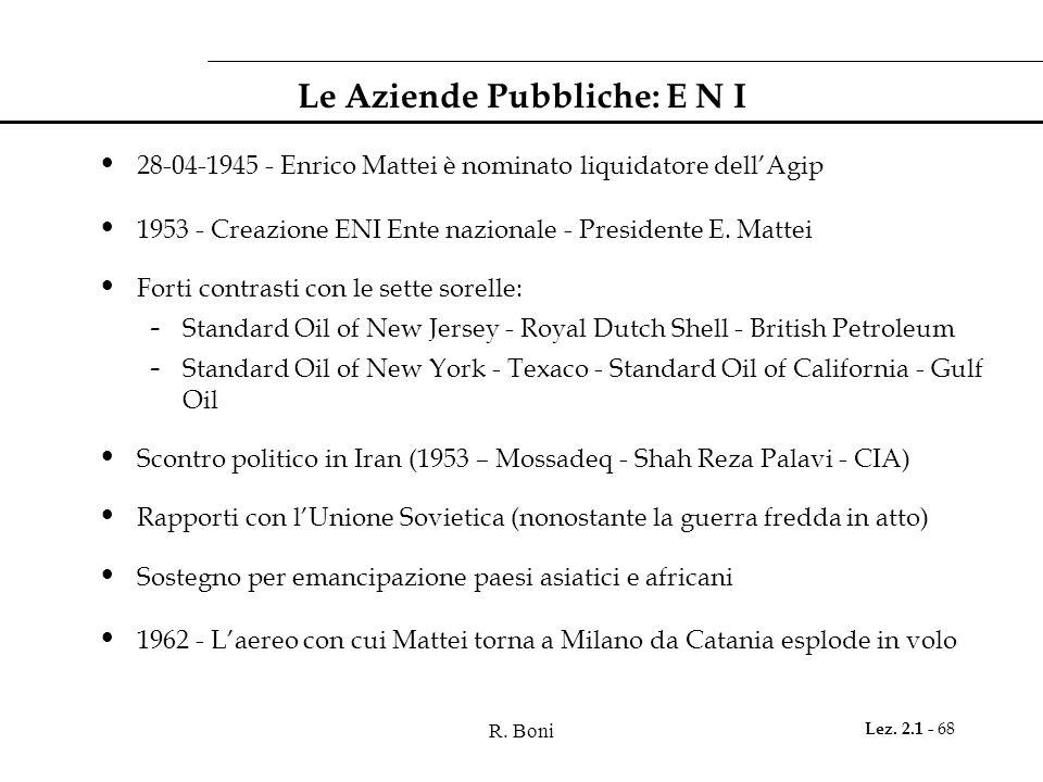 R. Boni Lez. 2.1 - 68 Le Aziende Pubbliche: E N I 28-04-1945 - Enrico Mattei è nominato liquidatore dellAgip 1953 - Creazione ENI Ente nazionale - Pre