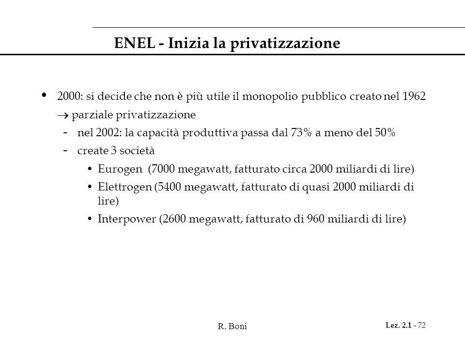 R. Boni Lez. 2.1 - 72 ENEL - Inizia la privatizzazione 2000: si decide che non è più utile il monopolio pubblico creato nel 1962 parziale privatizzazi