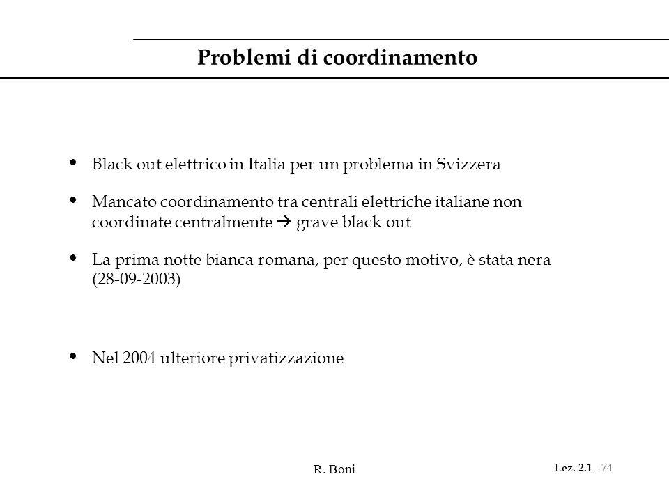 R. Boni Lez. 2.1 - 74 Problemi di coordinamento Black out elettrico in Italia per un problema in Svizzera Mancato coordinamento tra centrali elettrich