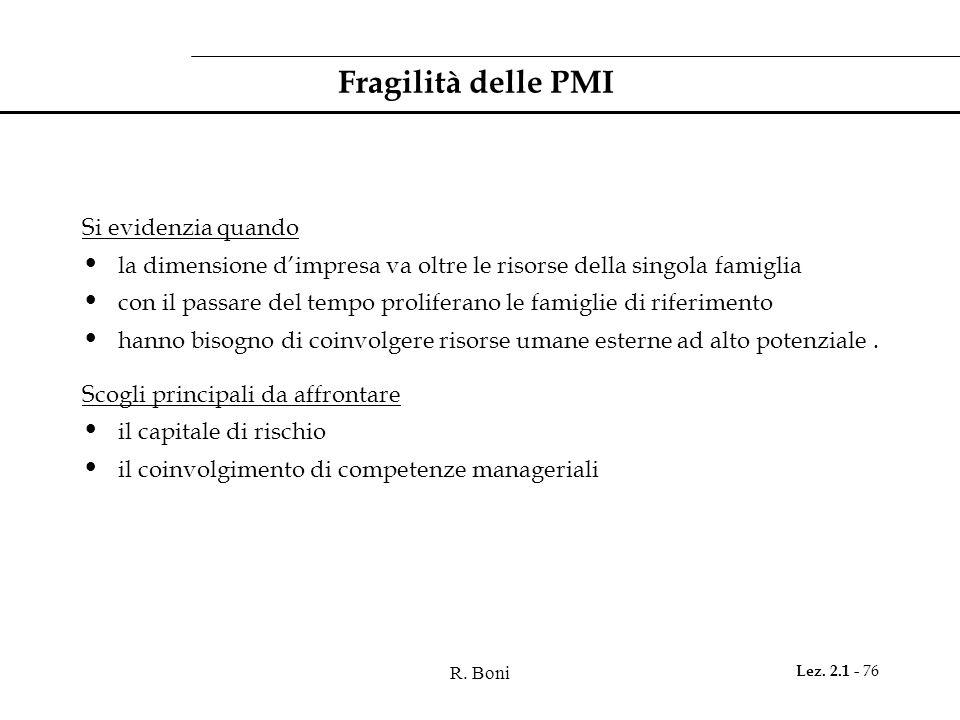 R. Boni Lez. 2.1 - 76 Fragilità delle PMI Si evidenzia quando la dimensione dimpresa va oltre le risorse della singola famiglia con il passare del tem