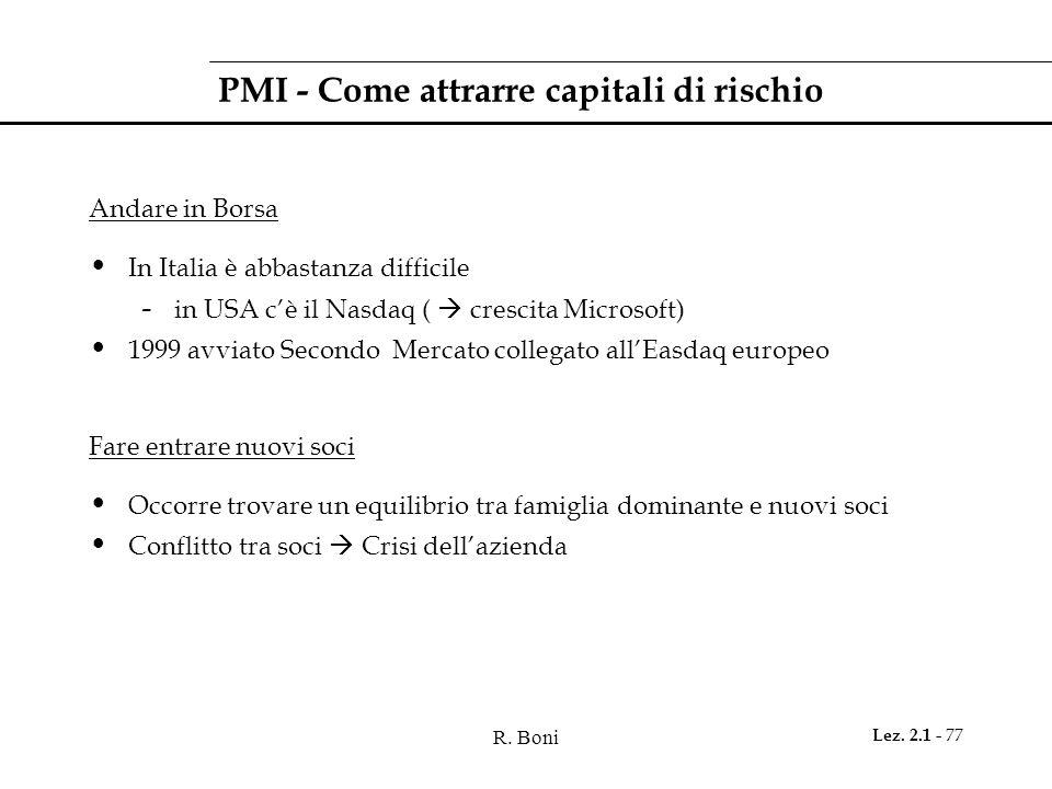 R. Boni Lez. 2.1 - 77 PMI - Come attrarre capitali di rischio Andare in Borsa In Italia è abbastanza difficile - in USA cè il Nasdaq ( crescita Micros