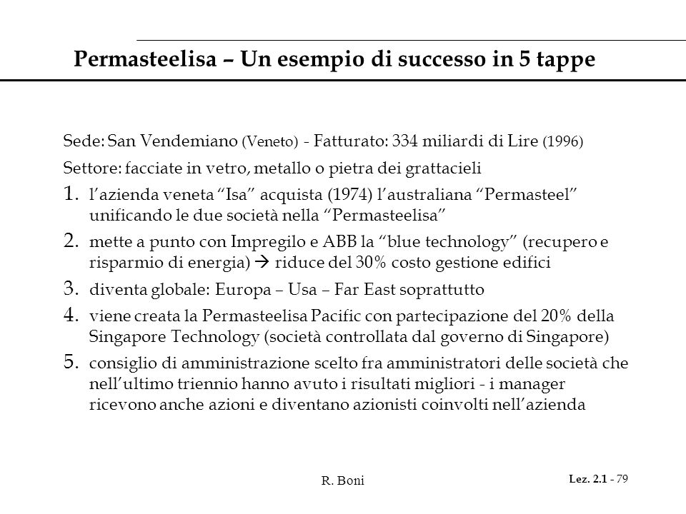 R. Boni Lez. 2.1 - 79 Permasteelisa – Un esempio di successo in 5 tappe Sede: San Vendemiano (Veneto) - Fatturato: 334 miliardi di Lire (1996) Settore