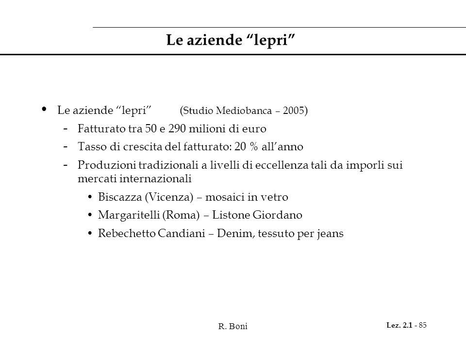 R. Boni Lez. 2.1 - 85 Le aziende lepri Le aziende lepri( Studio Mediobanca – 2005 ) - Fatturato tra 50 e 290 milioni di euro - Tasso di crescita del f