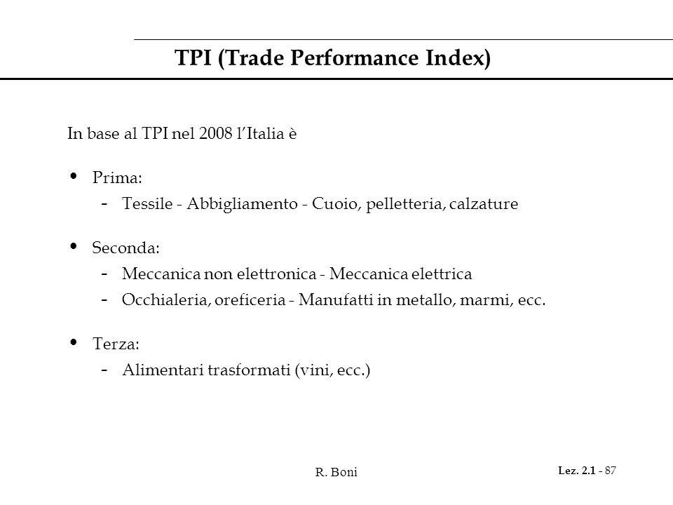 R. Boni Lez. 2.1 - 87 TPI (Trade Performance Index) In base al TPI nel 2008 lItalia è Prima: - Tessile - Abbigliamento - Cuoio, pelletteria, calzature