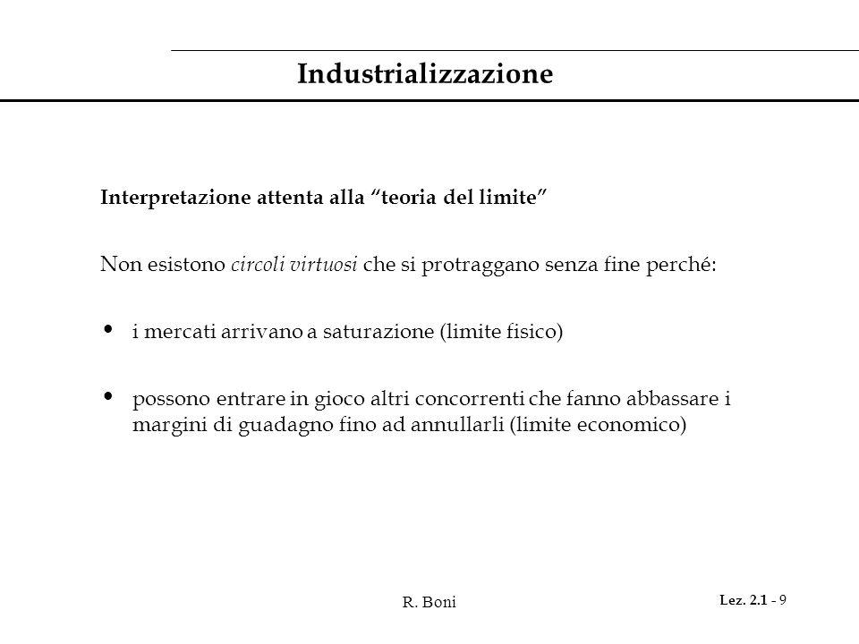 R. Boni Lez. 2.1 - 9 Industrializzazione Interpretazione attenta alla teoria del limite Non esistono circoli virtuosi che si protraggano senza fine pe