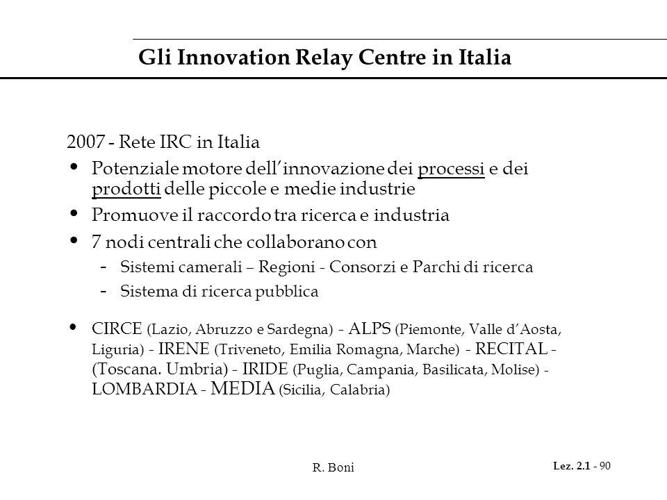 R. Boni Lez. 2.1 - 90 Gli Innovation Relay Centre in Italia 2007 - Rete IRC in Italia Potenziale motore dellinnovazione dei processi e dei prodotti de