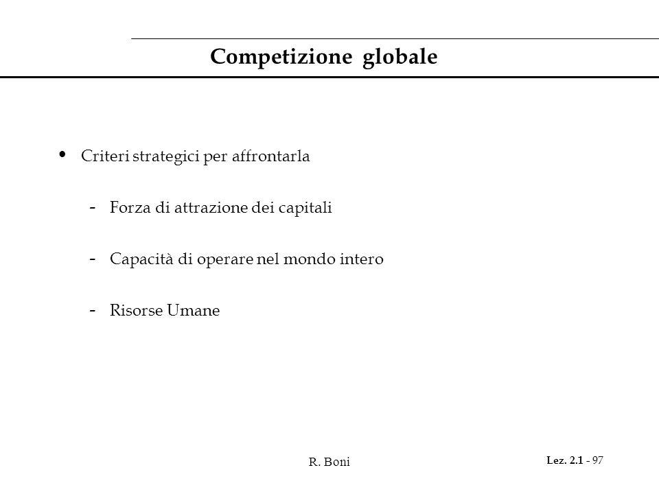 R. Boni Lez. 2.1 - 97 Competizione globale Criteri strategici per affrontarla - Forza di attrazione dei capitali - Capacità di operare nel mondo inter