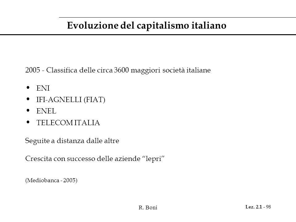 R. Boni Lez. 2.1 - 98 Evoluzione del capitalismo italiano 2005 - Classifica delle circa 3600 maggiori società italiane ENI IFI-AGNELLI (FIAT) ENEL TEL