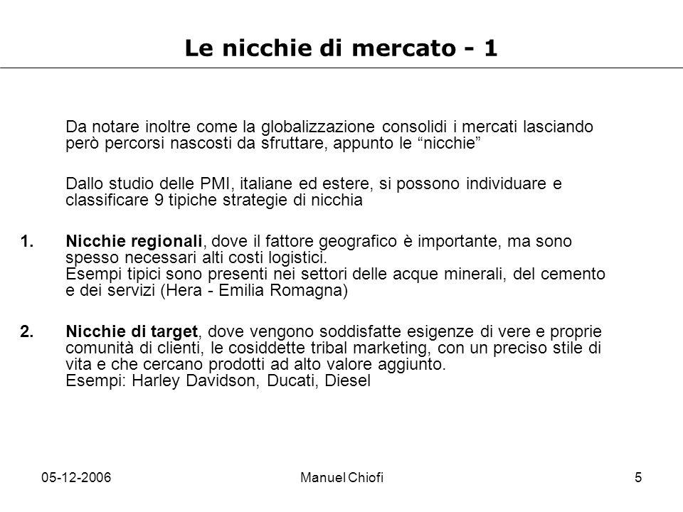 05-12-2006Manuel Chiofi6 Le nicchie di mercato - 2 3.Nicchie di prodotto, servono un segmento definito da un prodotto con caratteristiche tali da richiedere un know-how e processi commerciali specifici, senza contare le marcate differenze della catena del valore.