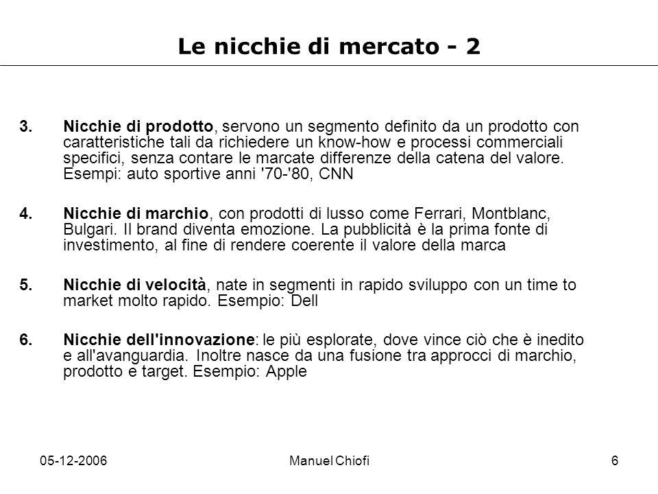 05-12-2006Manuel Chiofi6 Le nicchie di mercato - 2 3.Nicchie di prodotto, servono un segmento definito da un prodotto con caratteristiche tali da rich
