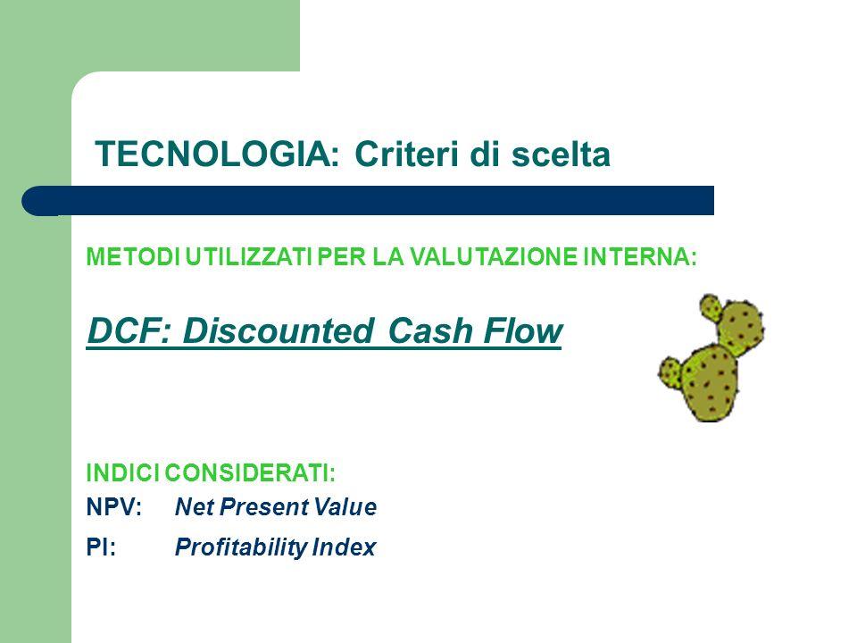 INDICI CONSIDERATI: TECNOLOGIA: Criteri di scelta METODI UTILIZZATI PER LA VALUTAZIONE INTERNA: DCF: Discounted Cash Flow NPV: PI:Profitability Index