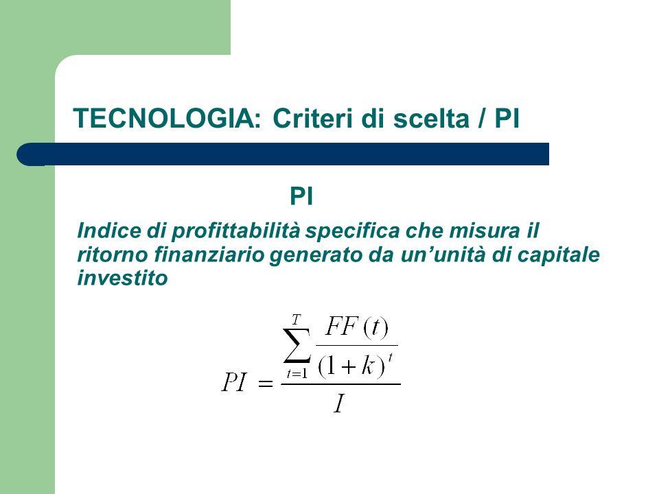 TECNOLOGIA: Criteri di scelta / PI PI Indice di profittabilità specifica che misura il ritorno finanziario generato da ununità di capitale investito
