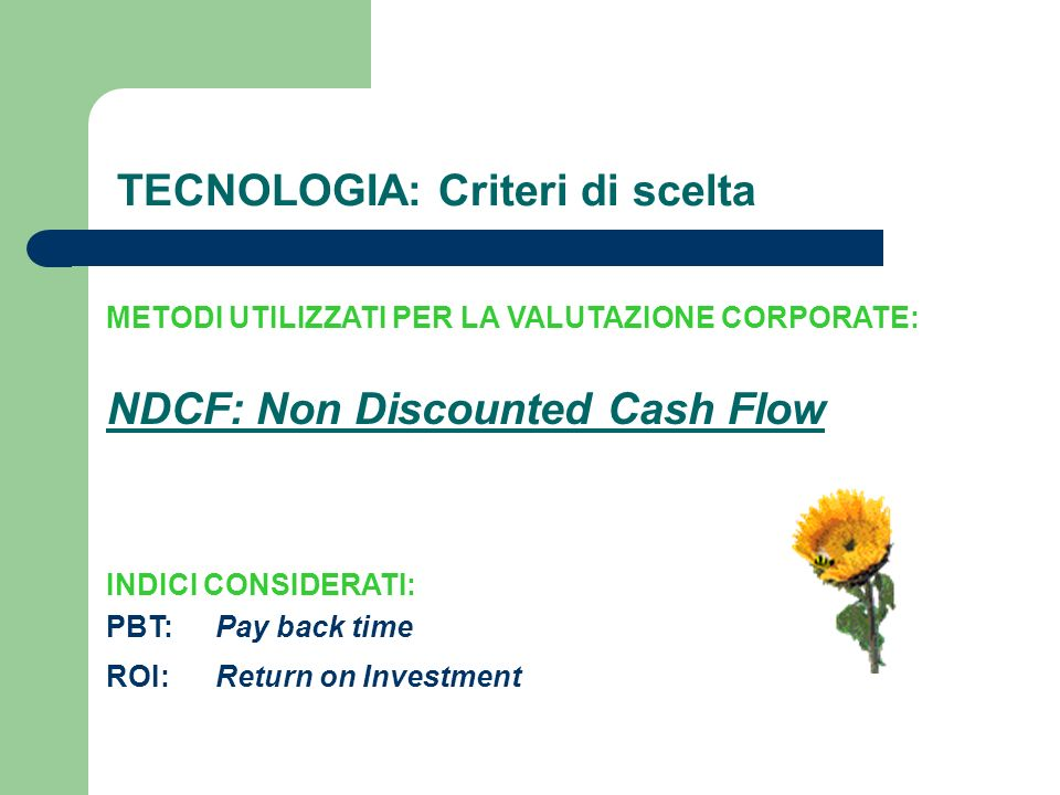 INDICI CONSIDERATI: TECNOLOGIA: Criteri di scelta METODI UTILIZZATI PER LA VALUTAZIONE CORPORATE: NDCF: Non Discounted Cash Flow PBT: ROI:Return on Investment Pay back time