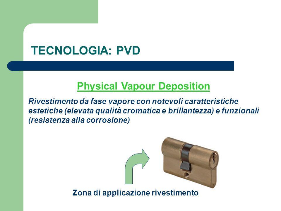 TECNOLOGIA: PVD Physical Vapour Deposition Zona di applicazione rivestimento Rivestimento da fase vapore con notevoli caratteristiche estetiche (eleva