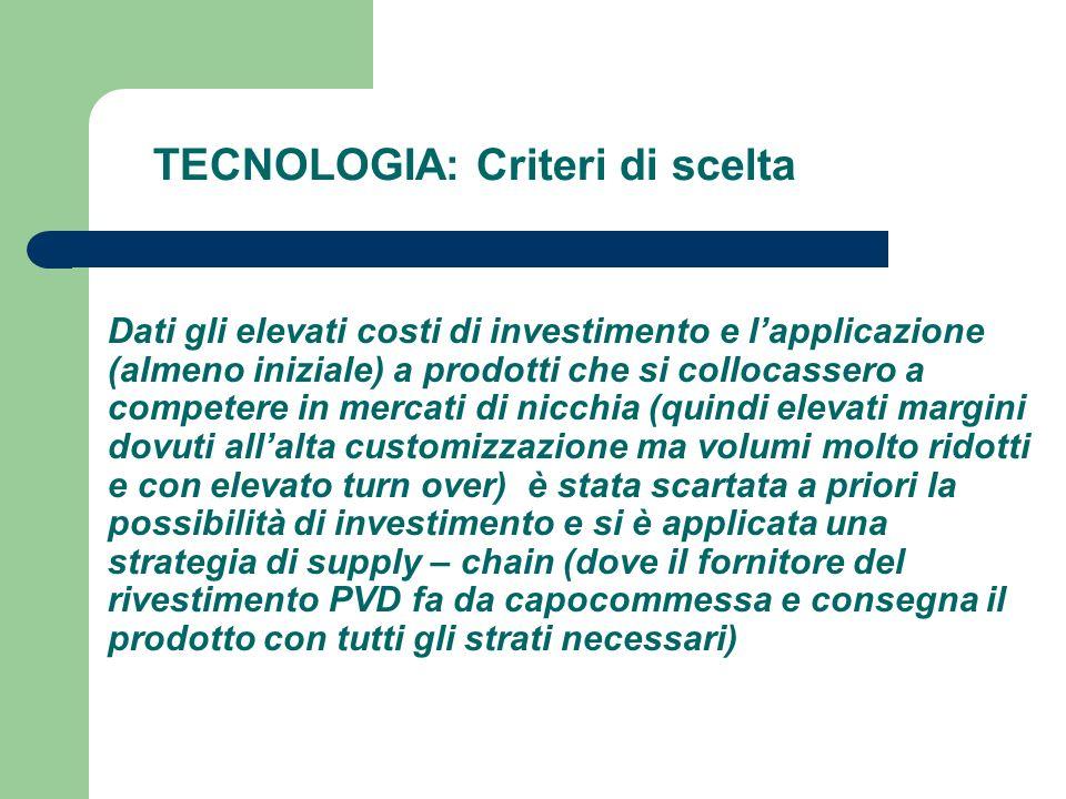TECNOLOGIA: Criteri di scelta Dati gli elevati costi di investimento e lapplicazione (almeno iniziale) a prodotti che si collocassero a competere in m