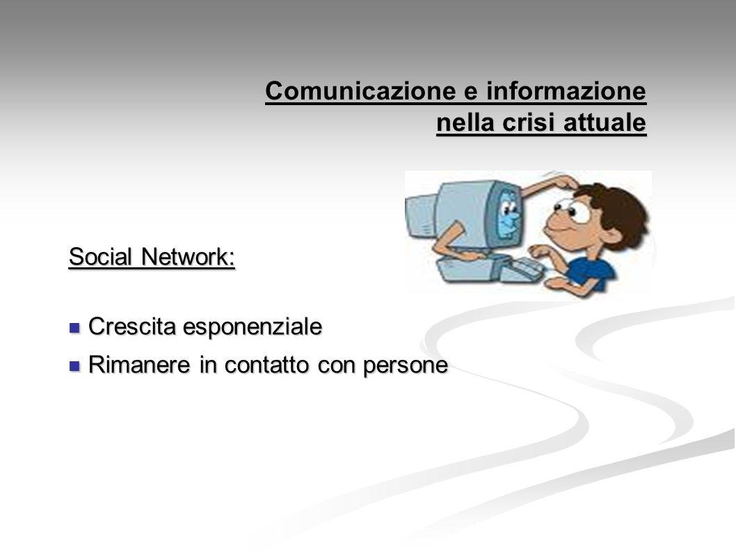 Comunicazione e informazione nella crisi attuale Social Network: Crescita esponenziale Crescita esponenziale Rimanere in contatto con persone Rimanere in contatto con persone