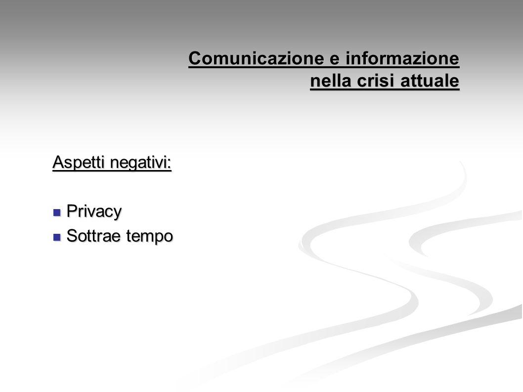 Comunicazione e informazione nella crisi attuale Aspetti negativi: Privacy Privacy Sottrae tempo Sottrae tempo