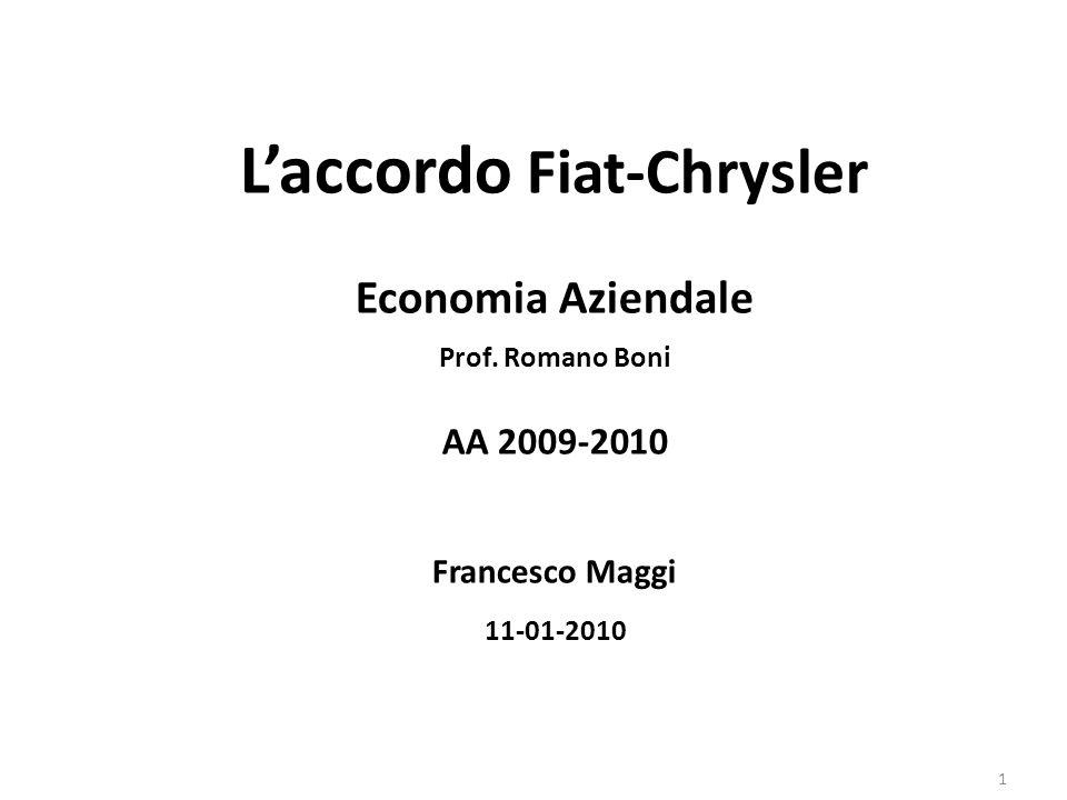 Laccordo Fiat-Chrysler Economia Aziendale Prof. Romano Boni AA 2009-2010 Francesco Maggi 11-01-2010 1