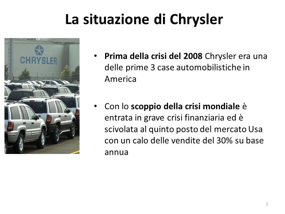 La situazione di Chrysler Nel Gennaio 2009 ha ricevuto dal governo circa 4 miliardi di dollari per evitare la bancarotta Ad aprile Il governo, per risollevare lazienda, ha approvato un piano di risanamento che prevede una bancarotta guidata di Chrysler usufruendo di circa 3 miliardi di dollari forniti dal tesoro Usa.