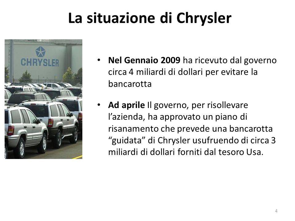 La situazione di Chrysler Nel Gennaio 2009 ha ricevuto dal governo circa 4 miliardi di dollari per evitare la bancarotta Ad aprile Il governo, per ris