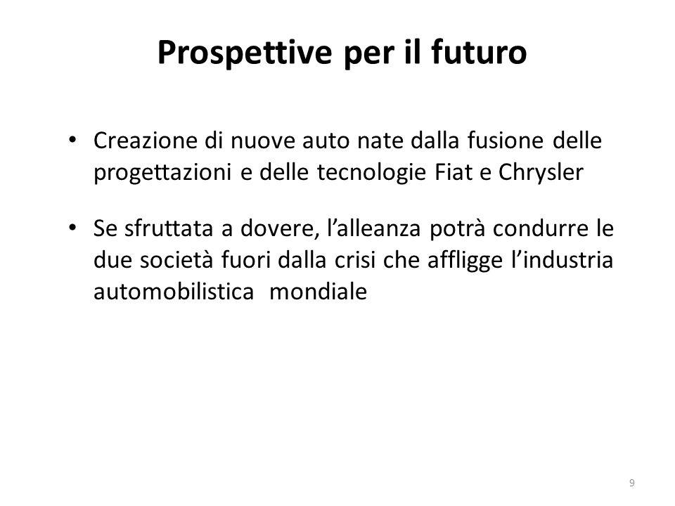 Prospettive per il futuro Creazione di nuove auto nate dalla fusione delle progettazioni e delle tecnologie Fiat e Chrysler Se sfruttata a dovere, lal