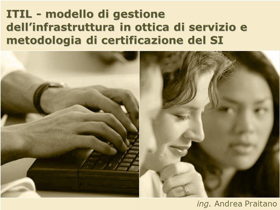 ITIL - modello di gestione dellinfrastruttura in ottica di servizio e metodologia di certificazione del SI ing.