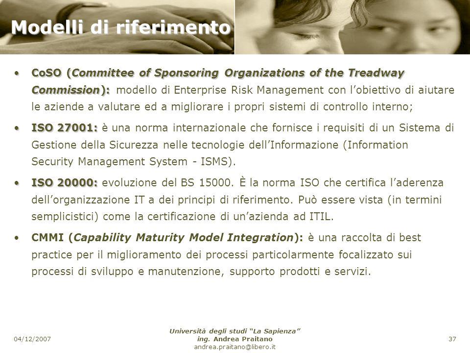 04/12/2007 Università degli studi La Sapienza ing.