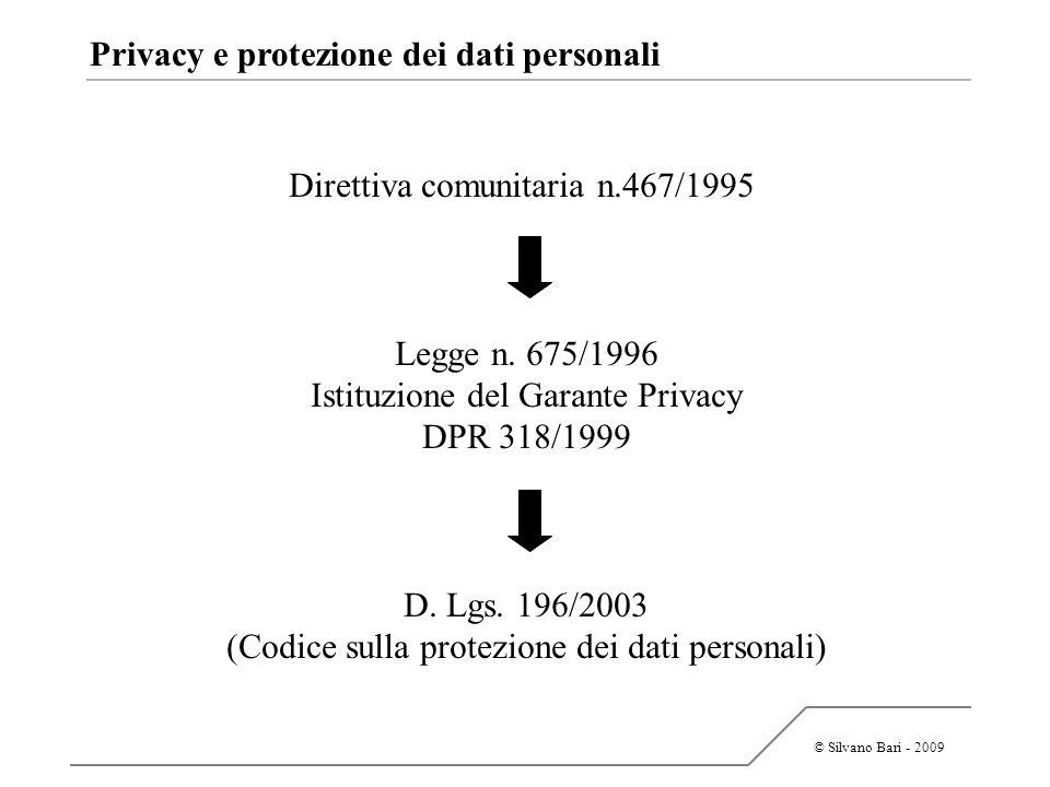 © Silvano Bari - 2009 Privacy e protezione dei dati personali Direttiva comunitaria n.467/1995 Legge n. 675/1996 Istituzione del Garante Privacy DPR 3