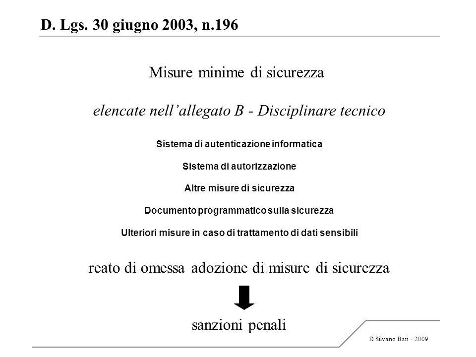 © Silvano Bari - 2009 D. Lgs. 30 giugno 2003, n.196 Misure minime di sicurezza elencate nellallegato B - Disciplinare tecnico Sistema di autenticazion