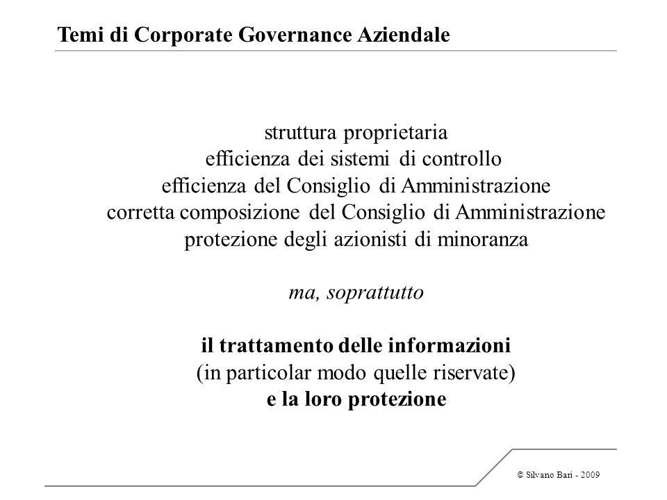 © Silvano Bari - 2009 Temi di Corporate Governance Aziendale struttura proprietaria efficienza dei sistemi di controllo efficienza del Consiglio di Am