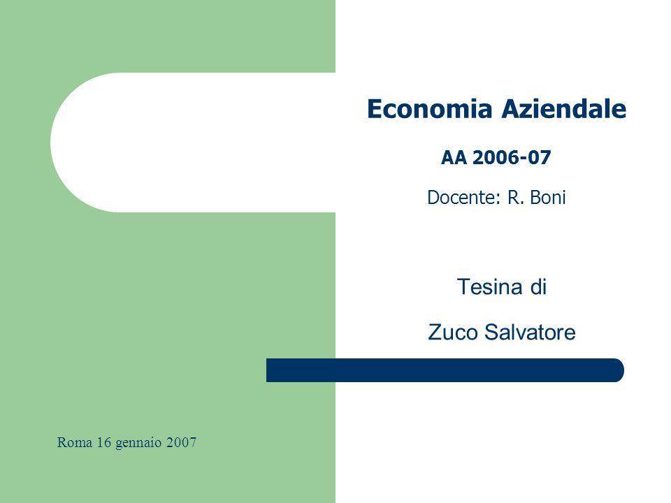 Economia Aziendale AA 2006-07 Docente: R. Boni Tesina di Zuco Salvatore Roma 16 gennaio 2007