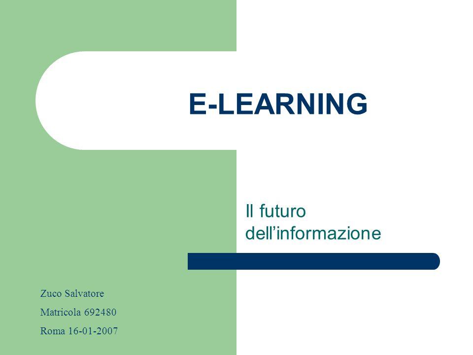 E-LEARNING Il futuro dellinformazione Zuco Salvatore Matricola 692480 Roma 16-01-2007