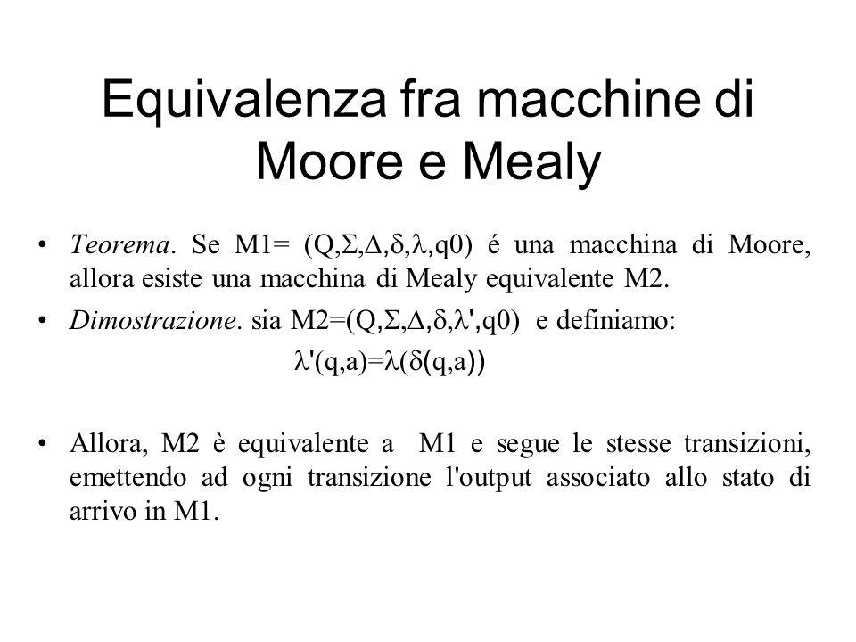Equivalenza fra macchine di Moore e Mealy Teorema. Se M1= (Q,, q0) é una macchina di Moore, allora esiste una macchina di Mealy equivalente M2. Dimost
