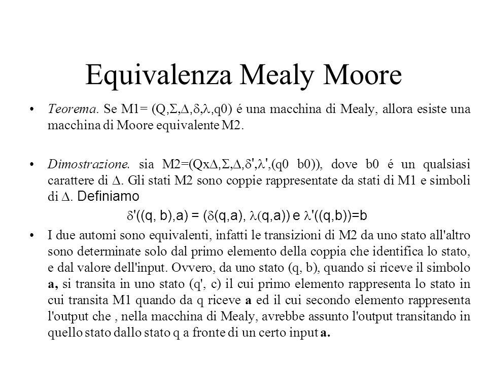 Equivalenza Mealy Moore Teorema. Se M1= (Q,,, q0) é una macchina di Mealy, allora esiste una macchina di Moore equivalente M2. Dimostrazione. sia M2=(