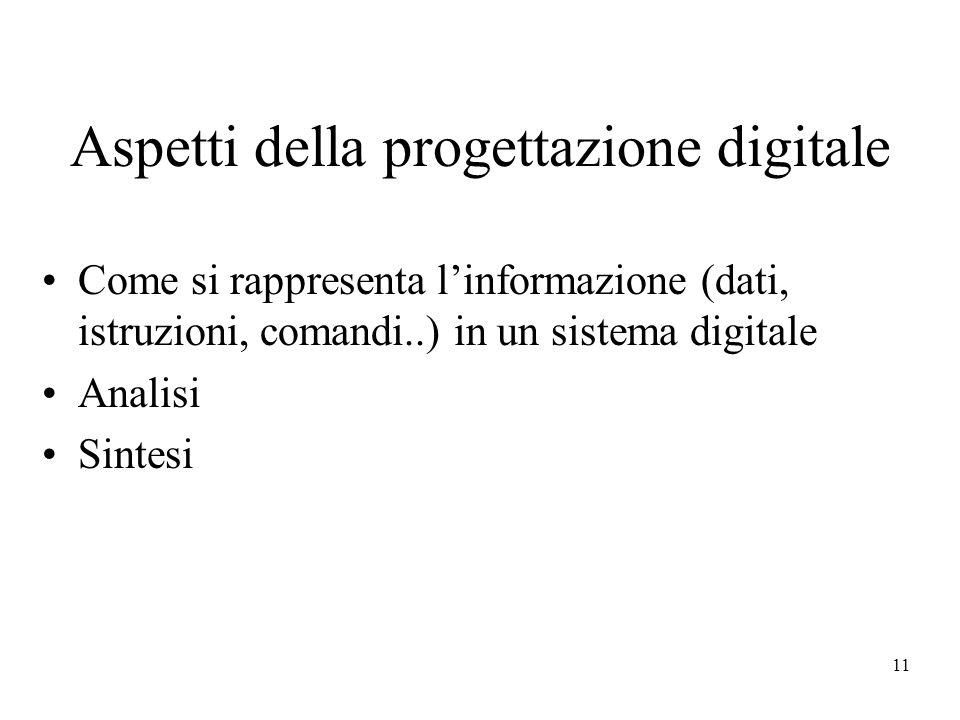 11 Aspetti della progettazione digitale Come si rappresenta linformazione (dati, istruzioni, comandi..) in un sistema digitale Analisi Sintesi