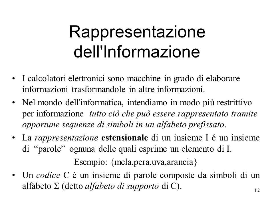 12 Rappresentazione dell'Informazione I calcolatori elettronici sono macchine in grado di elaborare informazioni trasformandole in altre informazioni.