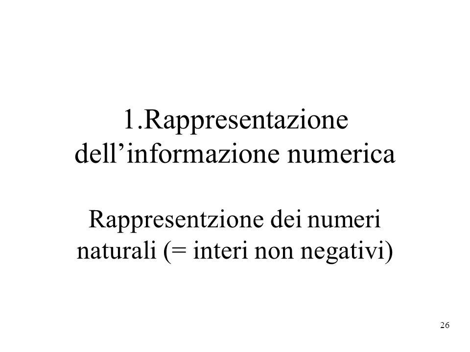 26 1.Rappresentazione dellinformazione numerica Rappresentzione dei numeri naturali (= interi non negativi)