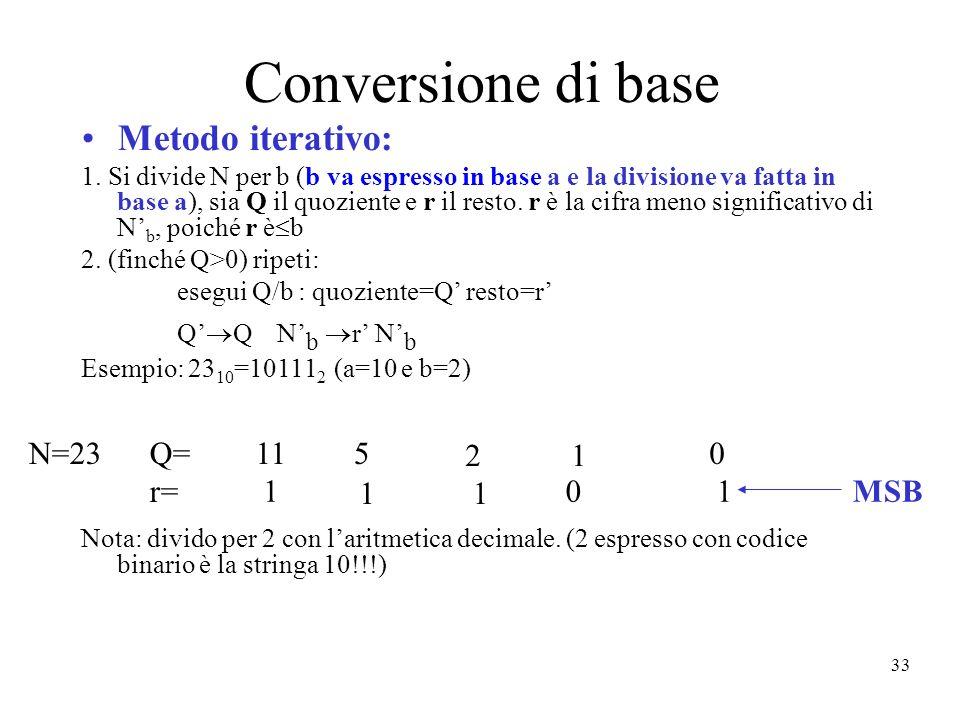 33 Conversione di base Metodo iterativo: 1. Si divide N per b (b va espresso in base a e la divisione va fatta in base a), sia Q il quoziente e r il r
