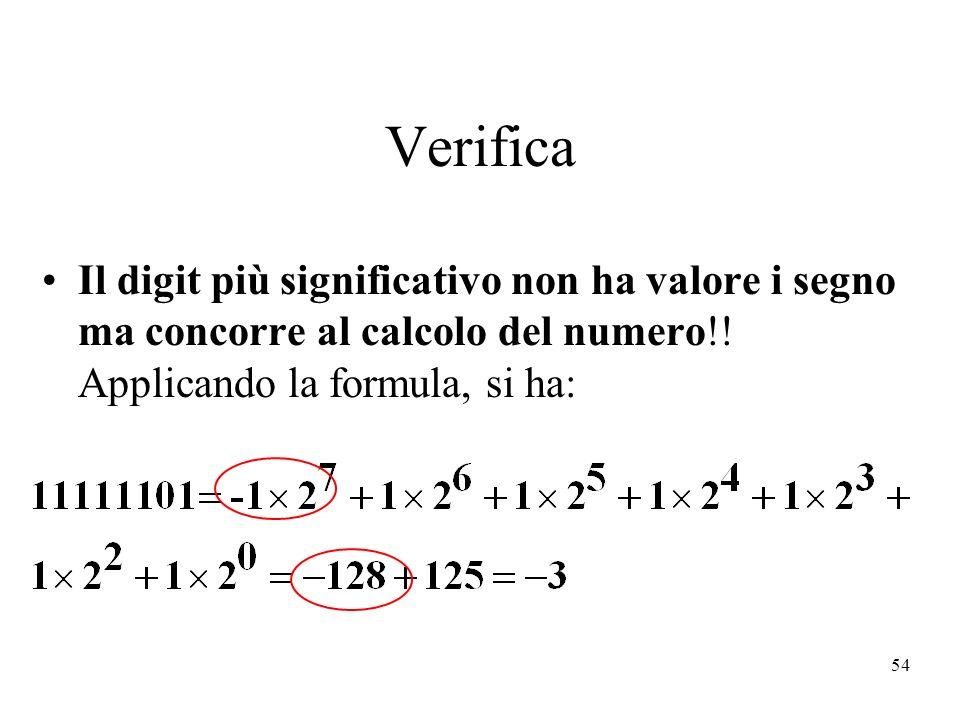 54 Verifica Il digit più significativo non ha valore i segno ma concorre al calcolo del numero!! Applicando la formula, si ha: