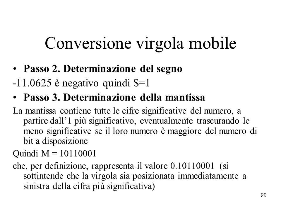 90 Conversione virgola mobile Passo 2. Determinazione del segno -11.0625 è negativo quindi S=1 Passo 3. Determinazione della mantissa La mantissa cont