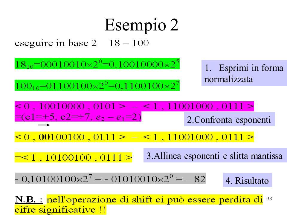 98 Esempio 2 1.Esprimi in forma normalizzata 2.Confronta esponenti 3.Allinea esponenti e slitta mantissa 4. Risultato