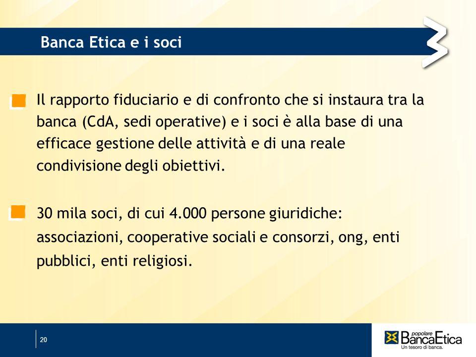 20 Il rapporto fiduciario e di confronto che si instaura tra la banca (CdA, sedi operative) e i soci è alla base di una efficace gestione delle attività e di una reale condivisione degli obiettivi.