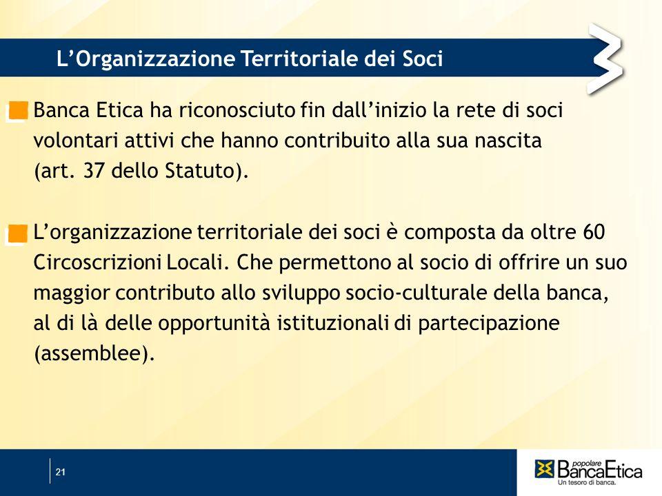 21 Banca Etica ha riconosciuto fin dallinizio la rete di soci volontari attivi che hanno contribuito alla sua nascita (art.